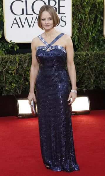 Jodie Foster was the very picture of Giorgio Armani's genius, in a navy-blue beaded gown with interesting tile-like pailettes on the straps. The design was perfectly measured, not overdone or underwhelming, which probably explains why Foster has been an Armani devotée since 1990.