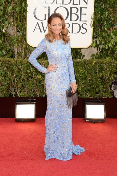 Sleeves made a comeback on the red carpet. Nicole Richie chose a light blue lace, long-sleeve gown by Naeem Khan (and matching blue eyeshadow.)