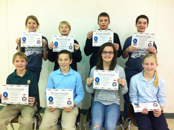 Roncalli hosted a Mathcounts competition for seventh- and eighth-graders on Dec 12. The individual winners in bracket numbers one through four were, back row from left: Eighth grade ¿ Gabbie Kramer, Groton; Landon Marzahn, Groton; Austin Sumption, Frederick; and Daniel Sharp, Holgate. Front row from left: Seventh grade ¿ Colton Hellwig, Roncalli; Austin Cihak, Roncalli; Aliah Davidson, Holgate; and Alison Dix, Roncalli.