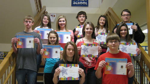 The Simmons Middle School December star eighth grade student is Annika Padgett. Eighth grade Students of the Month: Back row, from left: Elizabeth Tobin, Cassie Kulm, Adam Heagley, Joanna Geffre and Harley Huber. Middle row: Brandon Bumpous, Padgett, Chyanne Ehlebracht and Abby Phillips. Front row: Alyssa Mielke and Christian Muller. Not pictured is Sara Bennett.