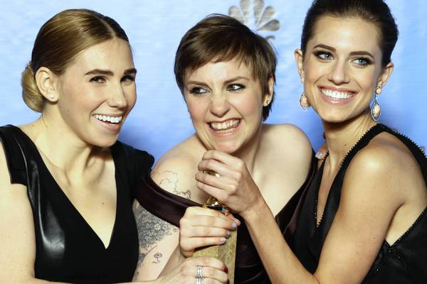 "Zosia Mamet, left, Lena Dunham and Allison Williams of ""Girls"" backstage at the 70th Annual Golden Globe Awards show at the Beverly Hilton Hotel on January 13, 2013."