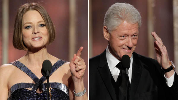 Actress Jodie Foster and former President Bill Clinton at the Golden Globes.