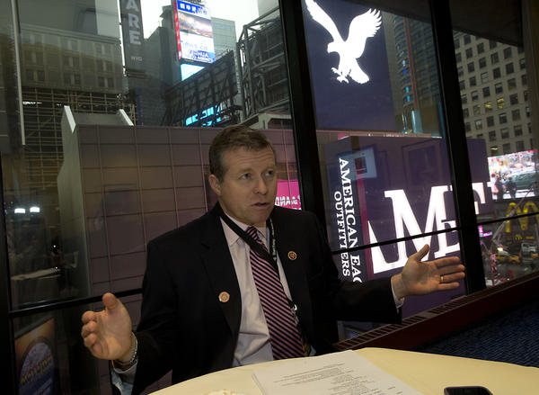 Congressman Charles Dent speaks from a conference room near Times Square, before participating in a town hall panel discussion during the No Labels conference at the Marriott Marquis in New York City on Monday.