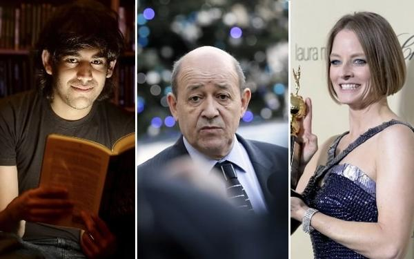 From left: Freedom-of-information activist and Reddit cofounder Aaron Schwarz made headlines with his suicide over the weekend; French Defense Minister Jean-Yves Le Drian continues to update the world on his country's actions in Mali, and actress Jodie Foster made two large revelations in her speech at the Golden Globes.