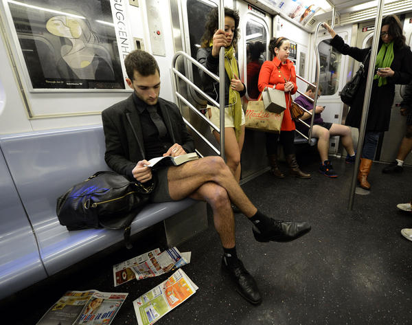 Some riders in the New York City subway in the underwear as the take part in the 2013 No Pants Subway Ride January 13, 2013. Started by Improv Everywhere, the goal is for riders to get on the subway train dressed in normal winter clothes (without pants) and keep a straight face.
