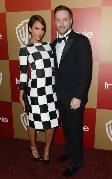 Actress and Globes presenter Jessica Alba with InStyle Editor Ariel Foxman.