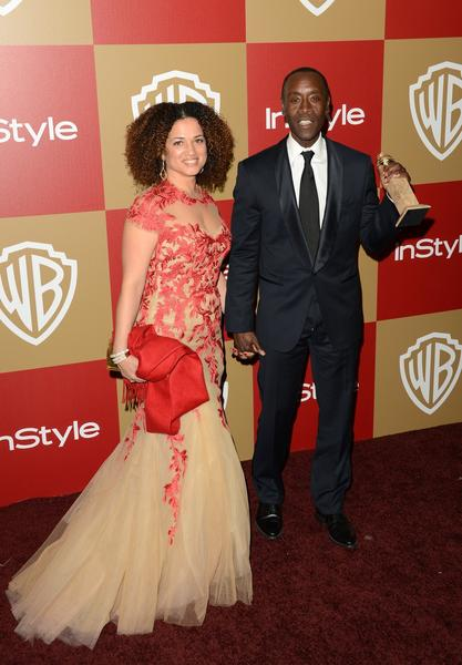"""House of Lies"" star Don Cheadle, who won best actor in a TV series (comedy or variety), with Bridgid Coulter."