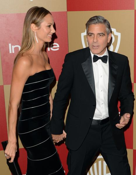 "Stacy Keibler attends the party with ""Argo"" producer George Clooney."