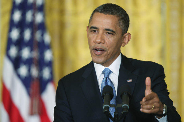 President Obama speaks during a news conference in the White House.