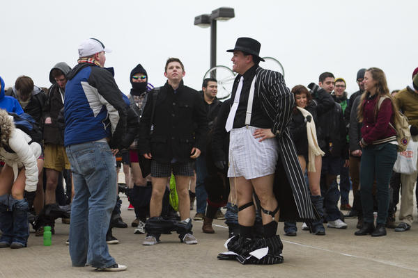 2013 No Pants Subway Ride: Participants gather to receive instructions before the start of the No Pants Subway Ride.