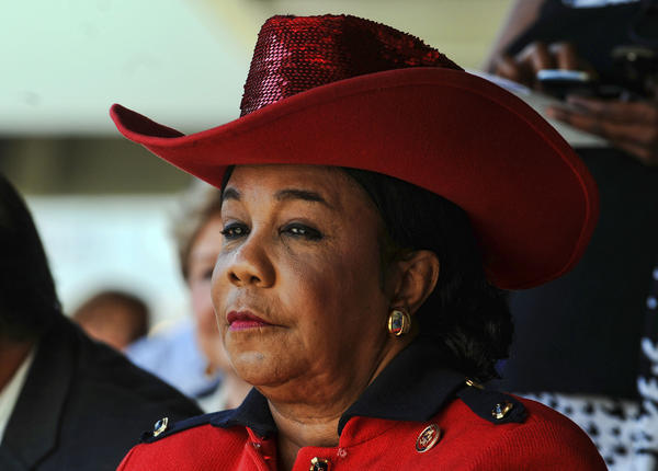Congresswoman Frederica Wilson (Broward) waits to be sworn-in on Monday at the Federal Courthouse in Fort Lauderdale.  She was sworn-in along with fellow Representatives Debbie Wasserman Schultz (Broward), Ted Deutch (Broward/Palm) and Lois Frankel (Broward/Palm).