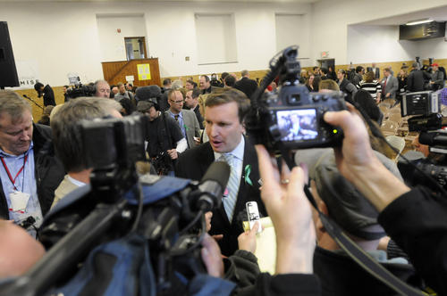 Sen. Chris Murphy talks to the media after the Sandy Hook Promise press conference.