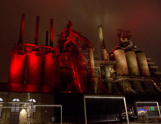 The former Bethlehem Steel Blast Furnaces are lit up on a cloudy Sunday night in January.