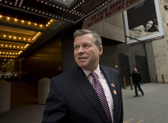 Congressman Charles Dent exits the Marriot MArquis, as he heads to a taxi before departing Manhattan after participating in the No Labels conference at the Marriott Marquis in New York City on Monday.