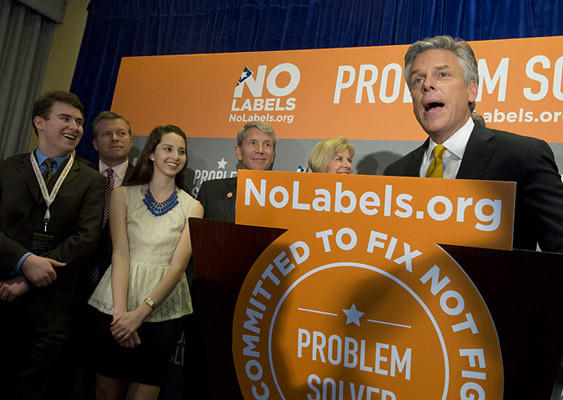 Gov. Jon Huntsman (R-UTAH) speaks during a news conference during the No Labels conference at the Marriott Marquis in New York City on Monday.