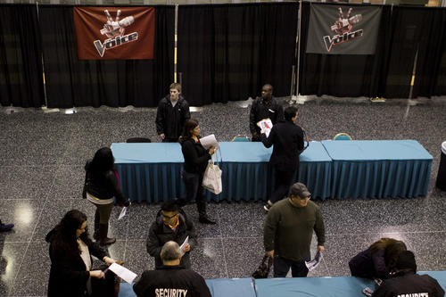 Potential contestants audition to be on 'The Voice' at Donald E. Stephens Convention Center in Rosemont, IL.