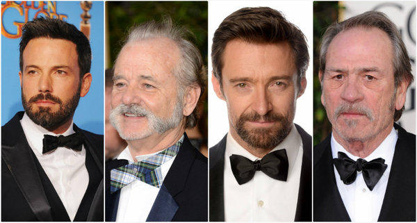 Bearded and mustachioed men at the 2013 Golden Globes included Ben Affleck, from left, Bill Murray, Hugh Jackman and Tommy Lee Jones.