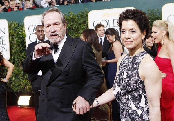 Tommy Lee Jones with his wife at the Golden Globe Awards show at the Beverly Hilton Hotel.