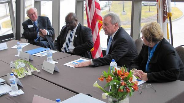 Sen. Dick Durbin meets with Elgin Community College officials to learn more about the school's required loan counseling program. Durbin has a bill that would make the practice mandatory at all colleges.