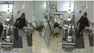 Surveillance photos from a Skokie robbery of a man believed to have robbed several suburban and city hair salons. Skokie police photos