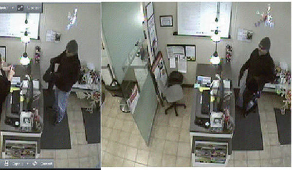 Surveillance photos from a Skokie robbery of a man believed to have robbed several suburban and city hair salons. Skokie police photo