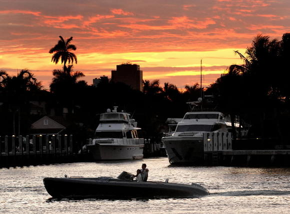 Sunset as seen from the Intracoastal Waterway in Fort Lauderdale.