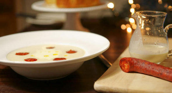 Reader Dermie shared a photo of Jerusalem artichoke soup with crispy chorizo.