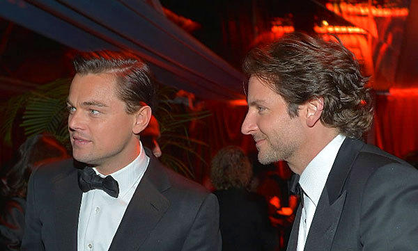 Leonardo DiCaprio and Bradley Cooper do a bit of star gazing at Weinstein Company's Golden Globe after party.