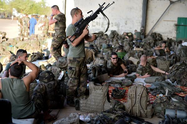 Soldiers from the 2nd French Navy Infantry Regiment, arriving from France, wait at the 101 military air base near Bamako before their deployment in northern Mali. France is using air and ground power in a joint offensive with Malian soldiers launched on Jan. 11 against hard-line Islamist groups controlling northern Mali.