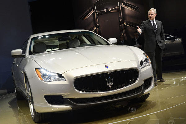 Harald J. Wester introduces the new Maserati Quattroporte sedan during the media preview at the North American International Auto Show in Detroit.