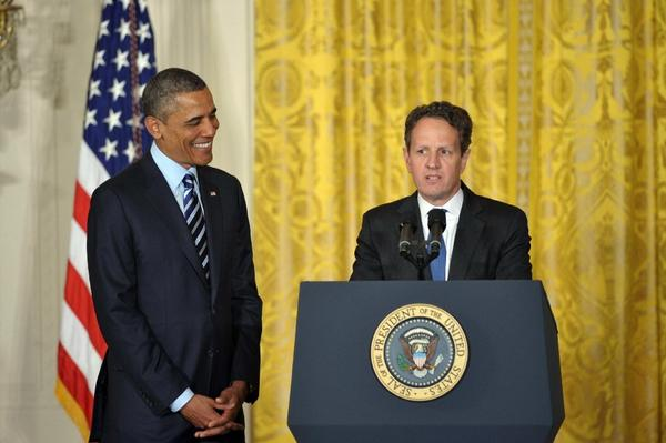 "Treasury Secretary Timothy F. Geithner, shown with President Obama last week, says failing to raise the debt ceiling ""would impose severe economic hardship on millions of individuals and businesses across the country."""