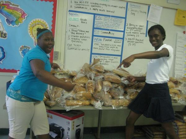 More than 500 loaves of fresh baked bread were collected Monday.