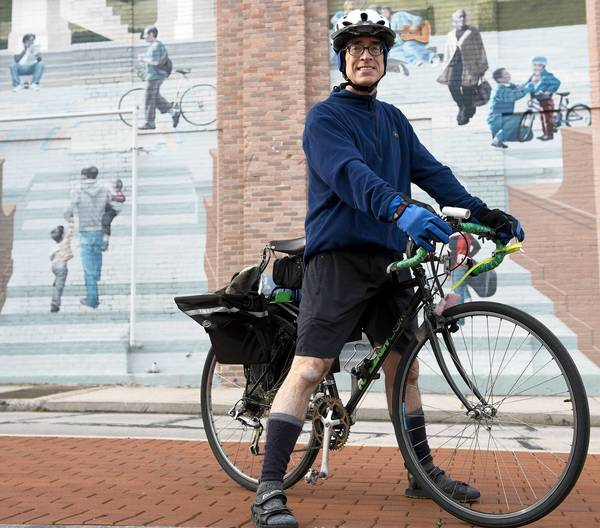Gary Madine, 53, of Bethlehem, rides his bike to work every day.