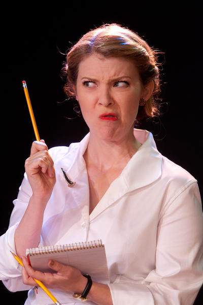 "Heather Leonardi in ""Laughter on the 23rd Floor"" at Mad Cow Theatre."