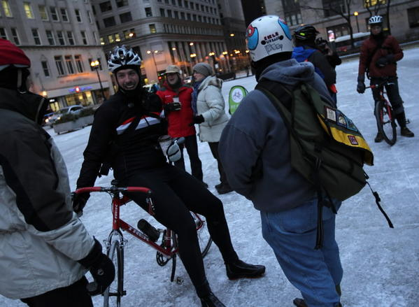 Cyclists gather at Daley Plaza to chat over coffee as the Active Transportation Alliance hosts Winter Bike to Work Day last year.