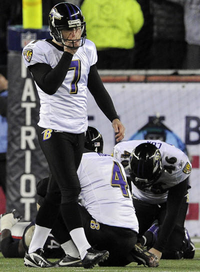 Ravens kicker Billy Cundiff covers his face after missing a 32-yard field-goal attempt in the final minute of the 2012 AFC championship against the New England Patriots.