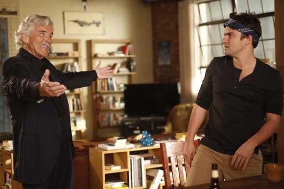 "Dennis Farina, left, and Jake Johnson on ""New Girl"""
