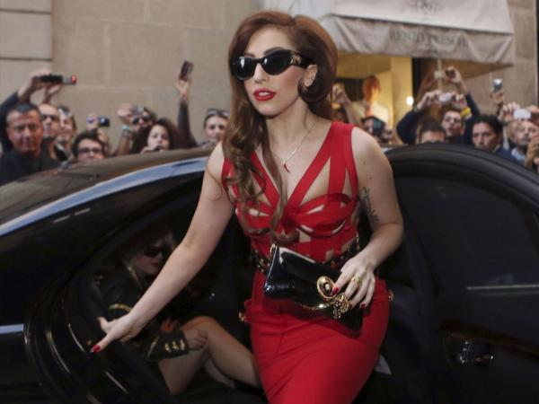 Lady Gaga, seen here last October, is in a public feud with Sharon Osbourne over bullying, guns and violence.