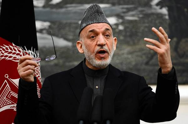 President Hamid Karzai speaks at the presidential palace in Kabul, Afghanistan, after his trip to Washington.