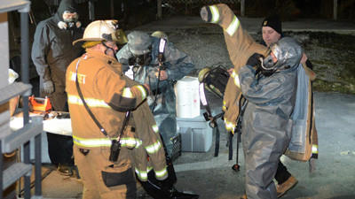 State police from Somerset and Somerset firefighters assisted a state police team from Greensburg to process the scene of a suspected methamphetamine lab in an apartment along Vincent Avenue in Somerset Borough Monday.