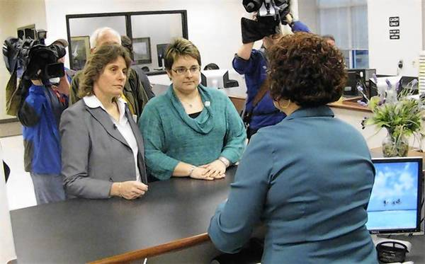 """Cindy Bovee-Kemper and Lisa Bovee-Kemper apply for a marriage license they knew they would be denied as part of the """"We Do Campaign"""" in Winston-Salem North Carolina."""