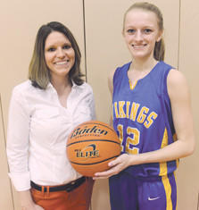 Somerset assistant basketball coach Jill Stutzman poses with Shanksville senior Kayla Stockenus. Stockenus broke the Shanksville girls basketball career total points mark of 1,724, set by Stutzman in 1997, against Shade on Monday night.