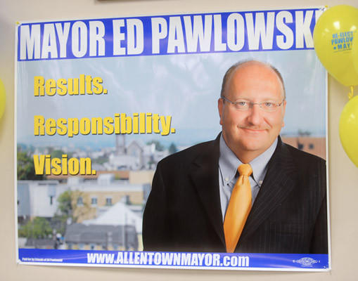 Mayor Pawlowski announces his candidacy for mayor at the IBEW Union Hall in Allentown on Monday.