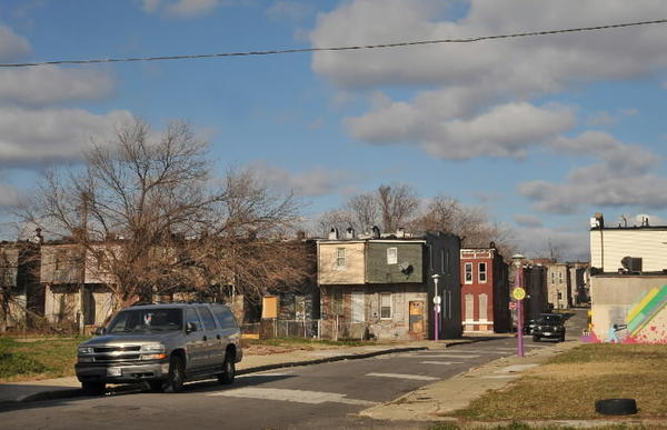 Federal and city officials chose 1500 block N. Bethel St. in Oliver neighborhood as setting to announce design contest for new, more climate-friendly row homes incorporating more wood.