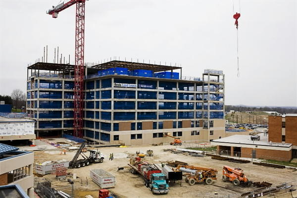 A building rises on the campus of Franklin Square Medical Center in 2009. Among four Baltimore County hospitals, Franklin Square reported the lowest land value in its filings with the IRS. The hospital's actual buildings fared better, valued second only to those at Greater Baltimore Medical Center.