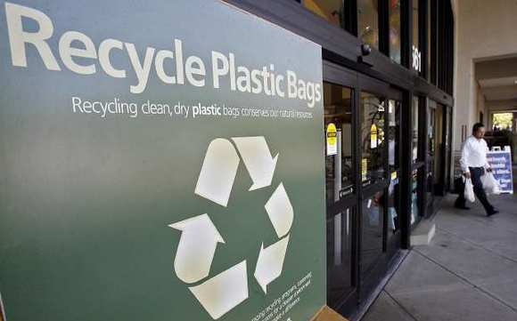 A recycling bin for customers to drop off unwanted plastic grocery bags at the Vons on Glendale Avenue.