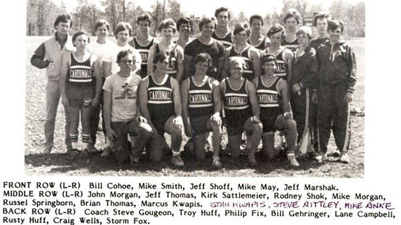 The 1984 Johannesburg-Lewiston boys' track team.
