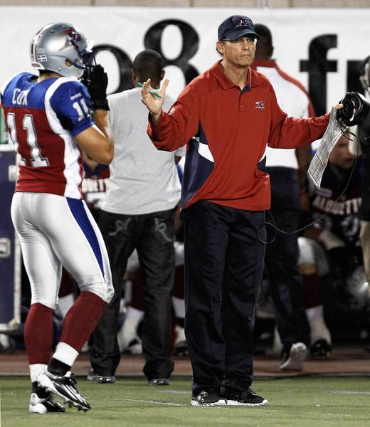 Montreal Alouettes head coach Trestman gestures during second half of their CFL football game against Toronto Argonauts in Montreal.