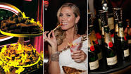 The Golden Globes are synonymous with red-carpet gowns, hair blowouts and diamonds galore, but even the celebrities squeezing into teeny-tiny dresses have to eat. So what do you feed a room full of Hollywood's most famous stars? Champagne, sushi, burgers, fries and brownies, of course.