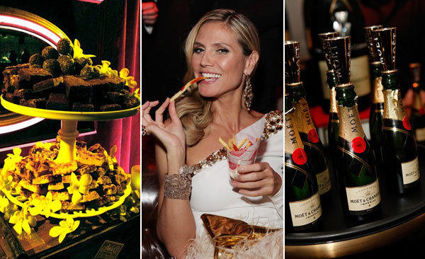 From left, sweets by Sheila G's, Heidi Klum eating french fries from Fatburger, and Moet Champagne flows.